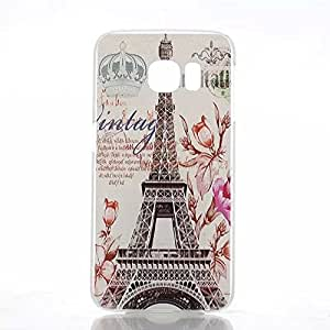 PIZU Fashion Painted Pattern Clear Hard PC Back Cover Matte Case for Samsung Galaxy S6 Edge The Eiffel Tower