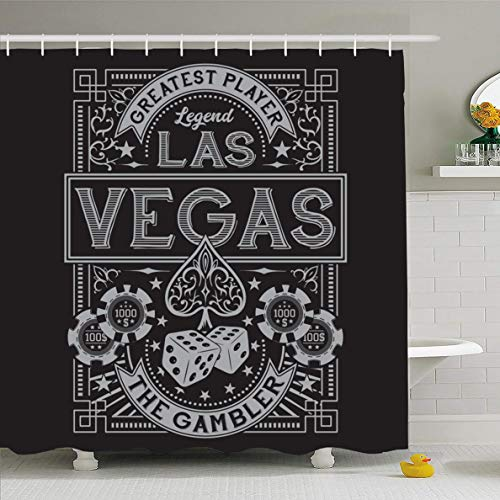 (Ahawoso Shower Curtain 66x72 Inches City Poker Vintage Gamble Casino Las Vegas Dice Sports Recreation Ace Spade Money Table Tee Black Waterproof Polyester Fabric Set with Hooks)