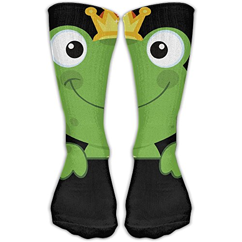 Women's Men's Classics Socks Cute Animal Green Frog With Crown Athletic Stockings 30cm Long Sock One Size