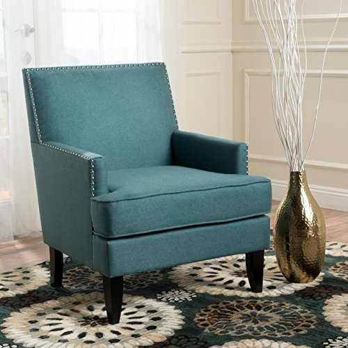 (GDF Studio 299991 Talette | Fabric Club Chair with Studded Accents | in Teal, Dark)