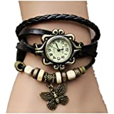 Viskey Original Women Vintage Watches,Bracelet Wristwatches Butterfly Pendant