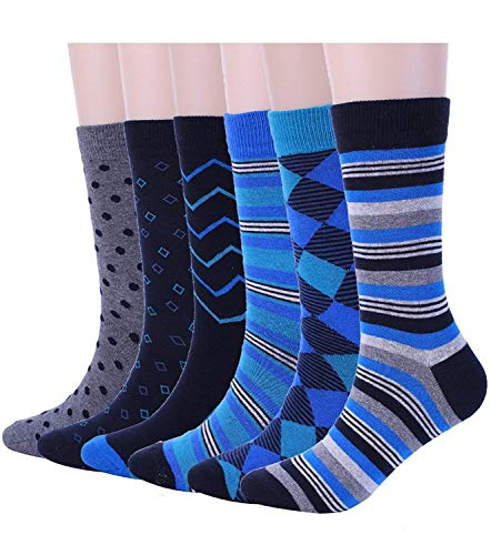 Mens Blue Dress Crew Socks Funky Argyle Stripe Patterned Designs 6 Pair, One Size