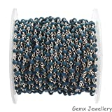 Gems-World Jewelry Sapphire Hydro Gemstone Rosary Chain, 3-4 mm Rondelle Beads, Silver Plated Chain.