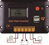 Solar Charge Controller 20A 12V/24V Auto Switch Battery Regulator Overload Protection with LCD Display USB Port