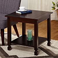 Elegantly and Uniquely Designed Ethan Brown Espresso Finished Wood End Table Adds Practicality and Style in Your Living Room