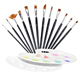 #10: Paint Brushes,Fascigirl 12 Pc Nylon Hair Brush Set with 2 Pack Palettes for Watercolor Oil Acrylic Painting