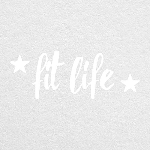 "Fit Life with Stars - 4"" Wide WHITE Cut Vinyl Decal - For MacBook, Car, Laptop, or Anything!"