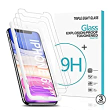 Triple Eight Glass Compatible with iPhone 11 6.1 inch / iPhone XR 6.1 inch, (3 pack) Tempered Glass Screen Protectors + (1) Precise Install Guide. Glass Pro 99.9% HD Clarity [9H Hardness , 0.3mm thick, 2.5D edge] 3 Pack