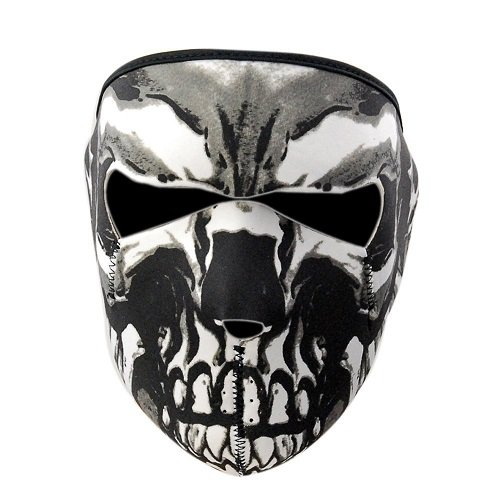 Motorcycle Snowboard Ski Black Neoprene 2 in 1 Reversible Skull Assassin Full Face Mask KT SUPPLY WFM-02