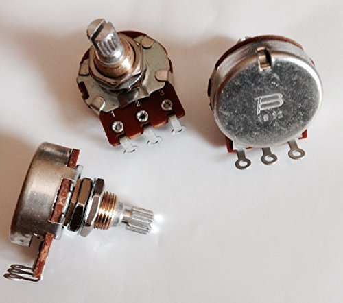 250k Audio Taper Pot - Set of Three (3X) Bourns 250K SHORT Split Shaft Audio Taper Potentiometers