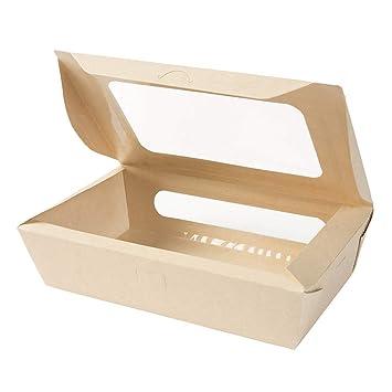 BIOZOYG Caja para Llevar de Fibras de bambú I Caja cartón orgánico Tree Free con Doble ...
