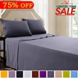 Queen Bed Sheet Set - 4 Piece Dark Grey - Brushed Microfiber 1800 Threads 16-Inch Deep Pocket Soft Hypoallergenic Easy Care by Shilucheng