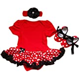 Reborn Baby Doll Clothes Outfit for 20-23 Inch Reborns Newborn Babies Matching Clothing Headband Red Tutu Dress Shoes Three-Piece Set