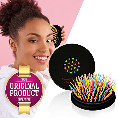 CANDYLOVE Detangler Hair Brush with Mirror for Kids, Ladies. Prevent Tangling, Knots with Portable Smoothing Straightener. Unique Bristles for Frizzy, Tease, Wet. Creative Healthy Hair.[Compact (Wavy Round Tip Black Nylon)