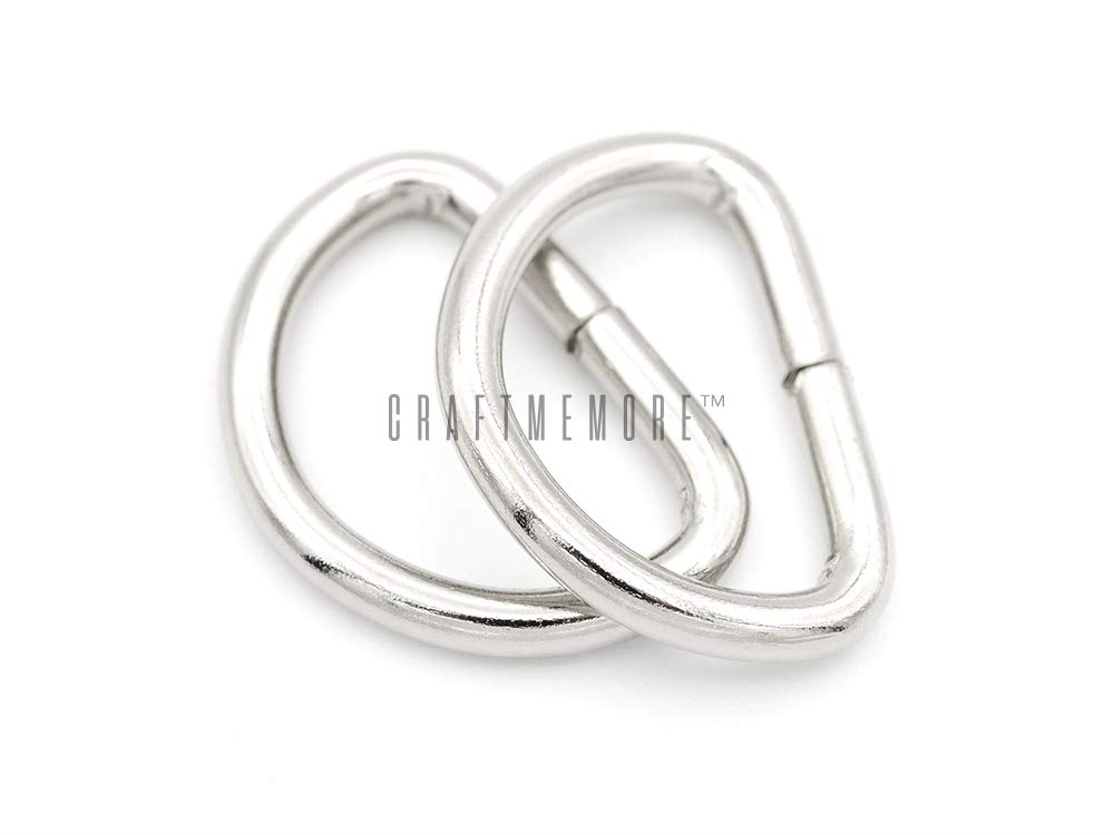 1 Inch, Silver CRAFTMEmore D-Ring Findings Metal Non Welded D Rings for Belts Bags Landyard Leathercraft Available 4 Colors 3//4 /& 1 Inch Pack of 20
