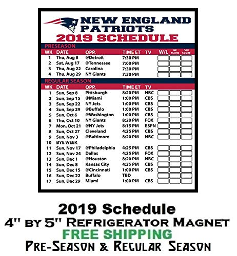 Patriots Schedule 2019 Amazon.com: New England Patriots NFL Football 2019 Full Season