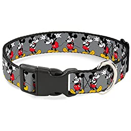 Buckle-Down Mickey Mouse W/Glasses Poses Gray Disney Breakaway Plastic Clip Collar, Narrow-Large