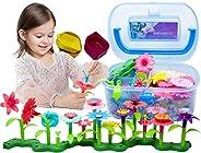 BIRANCO. Flower Garden Building Toys - Build a Bouquet Floral Arrangement Playset for Toddlers and Kids Age 3,
