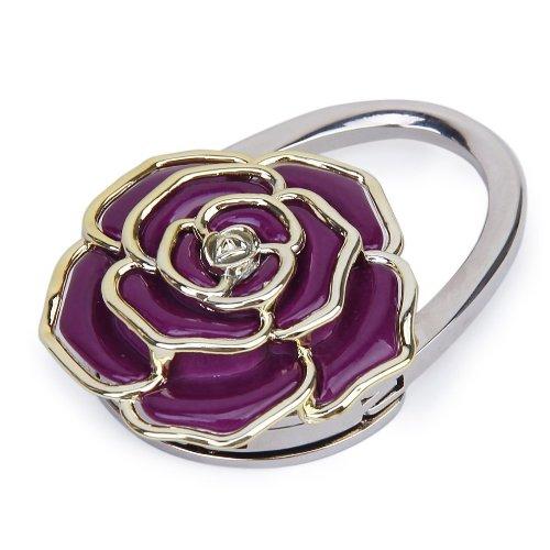 Folding Handbag Purse Bag Hanger Table Hook Hang Rose Flower Shape Purple - New Folding Handbag Purse
