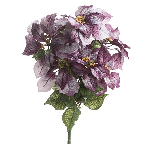 Factory Direct Craft Variegated Purple Artificial Poinsettia Bush for Holiday and Home Decor