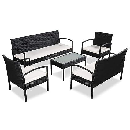 Garten-Sofa-Set 9-tlg Poly Rattan Sitzgruppe Balkon Sitzgarnitur Braun Schwarz
