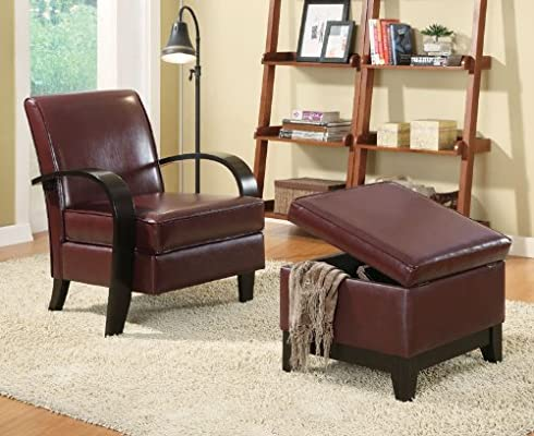 Prime Amazon Com Accent Chair Storage Ottoman Burgundy By Ncnpc Chair Design For Home Ncnpcorg