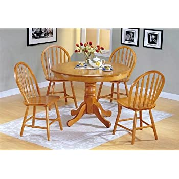 this item country style oak finish wood round dining table chair set reclaimed kitchen with bench and chairs for sale