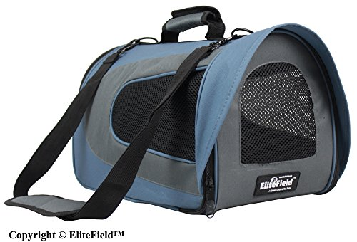 EliteField Airline Approved Soft Pet Carrier with Plush Bed for Dog and Cat, 18 L x 10 W x 11 H Inch, Blue Gray/Gray