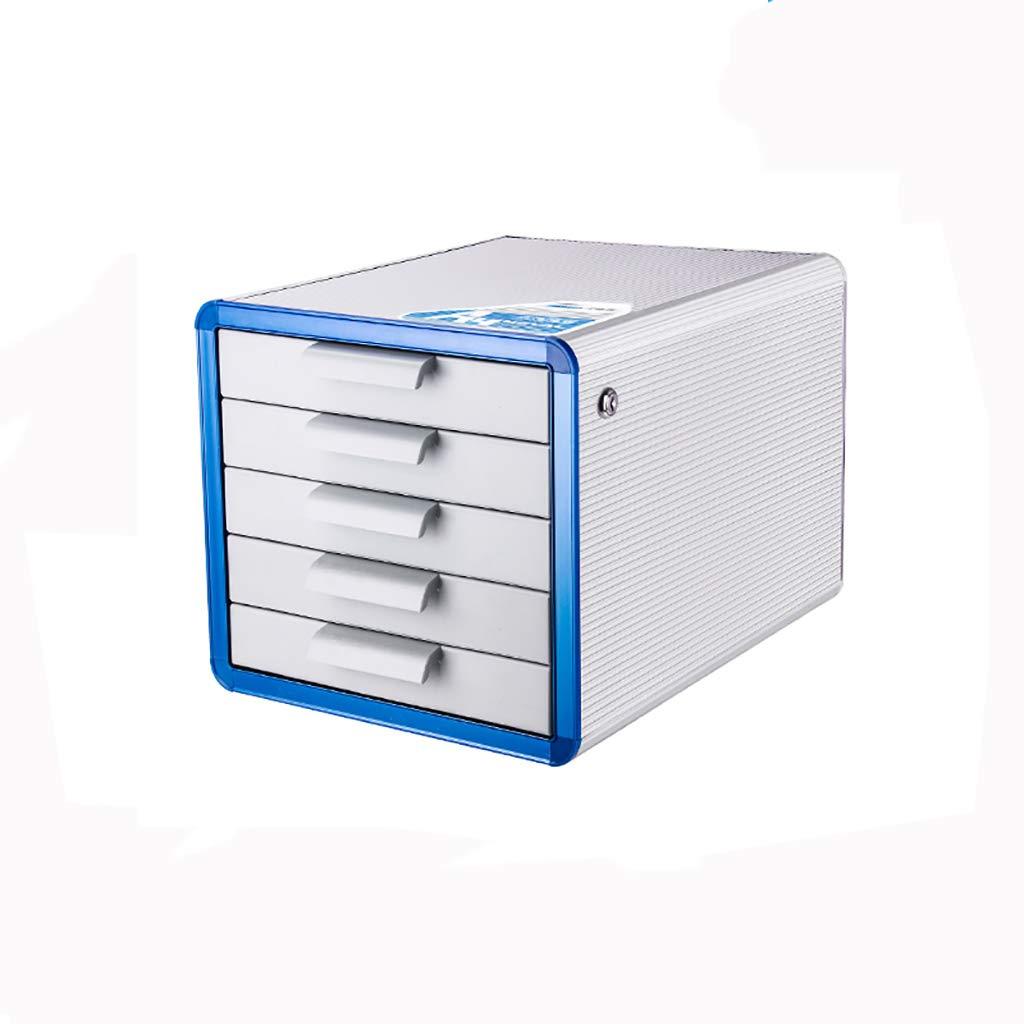 ファイルキャビネットアルミニウム合金デスクトップロッカーファイルボックス5層ロック付き引き出しタイプ青 B07MKR9W42