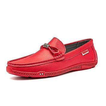 HhGold Calzado de conducción para Hombres Mocasines y Zapatillas sin Cordones de Cuero para otoño/Invierno, Moda Zapatos Perezosos Casuales/ Zapatos para ...