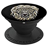 Lion Big Cat Kitty Feline Growling Fierce Animals Wildlife - PopSockets Grip and Stand for Phones and Tablets