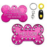 Didog Aluminum Rhinestone Custom Pet ID Tag for Dogs and Cats, Free Engraving and Gifts