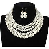Lanue Women Elegant Jewelry Set Multi Strand 5 Layer Pearl Bead Cluster Collar Bib Choker Necklace and Earrings Suit (White)
