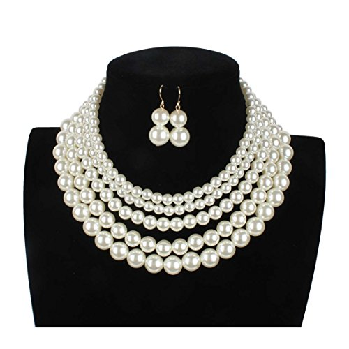 Lanue Women Elegant Jewelry Set Multi Strand 5 Layer Pearl Bead Cluster Collar Bib Choker Necklace and Earrings Suit (White)