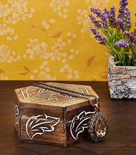 Simply Indian Decorative Wooden Jewelry Box Trinket Organizer Keepsake Box Multipurpose Accessories - Mango Wood Beautiful Gift on all Occasions.