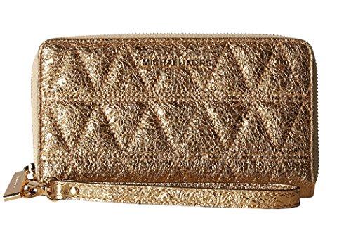 MICHAEL Michael Kors Large Flat Multifunction Leather Phone Case Wristlet Pale Gold