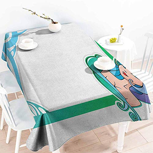 familytaste Zodiac Virgo,Tablecloths The Sixth Sign from The Series of Zodiac Frames in Cartoon Style with a Girl 70