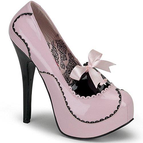Bordello von Pleaser Frauen Teeze-01 Plattform Pumpe Baby Pink-schwarzes Patent