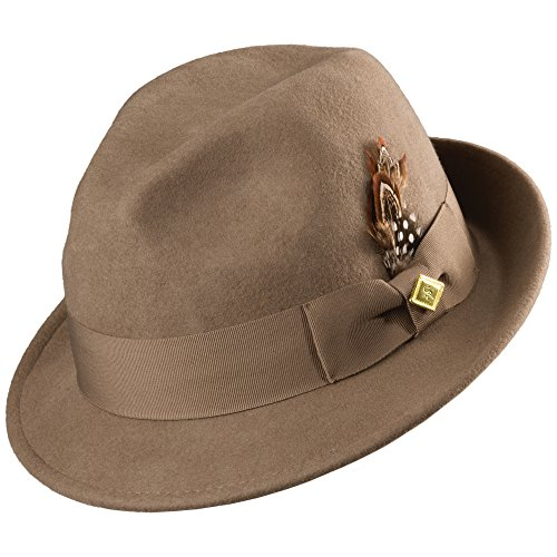 STACY ADAMS Men's Fedora With Matching Hat,Brown,XL