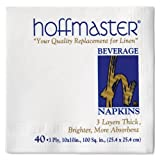 Hoffmaster 740940 Beverage Napkin, 3-Ply, 1/4 Fold, 10'' Length x 10'' Width, White (Case of 960)