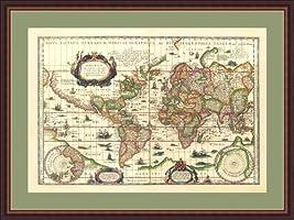 """Goegrafica Tabula, 1630"" by Willem Janszoon Blaeu - Framed Artwork"