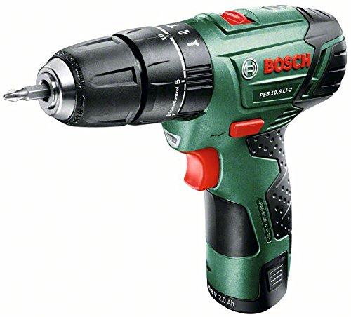 Bosch DIY Akku-Schlagbohrschrauber PSB 10,8 LI-2, Akku, Ladegerät, Doppelschrauberbit, Koffer (10,8 V, 2,0 Ah, Bohr-Ø in Holz 20 mm)