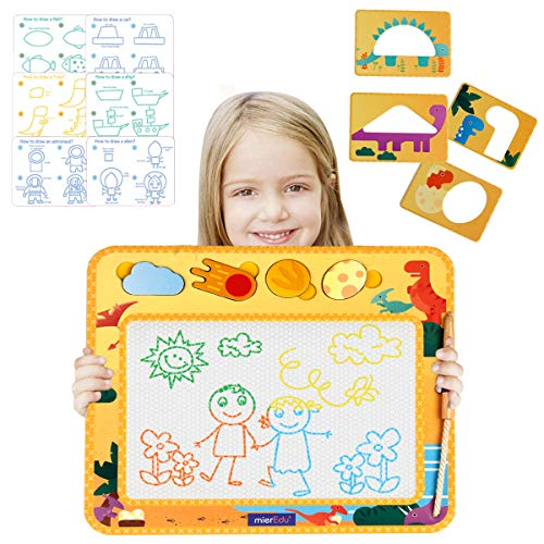 BOBXIN Magnetic Drawing Board,Dinosaur Erasable Doodle Pad Education Writing Learning Painting Colorful Board for Kids with Wooden Pen, Stencils and Drawing Guides