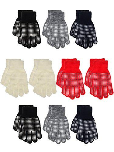 Childrens Magic Gloves (Willbond 10 Pairs Kids Magic Gripper Gloves Children Anti-slip Winter Gloves Non-skid Finger Gloves for Boys and Girls, 5 Colors)
