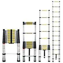 Stanz (TM) Portable 12.5 Feet Aluminum Telescoping Extension Ladder, 12 Steps