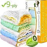 """Baby Washcloths - Muslin Washcloth Pack - 9-ply 12""""x12..."""
