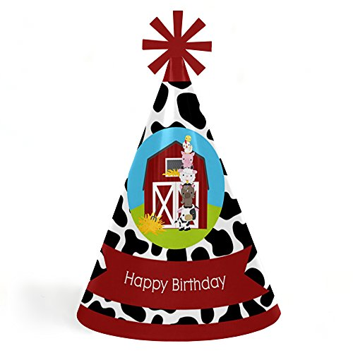 Big Dot of Happiness Farm Animals - Cone Happy Birthday Party Hats for Kids and Adults - Set of 8 (Standard Size) by Big Dot of Happiness