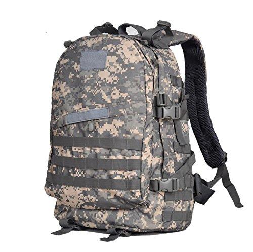 YYY-Un nuevo día del montañismo bolso hombres y mujeres bolso mochila 3D militares fans paquete capacidad 45L , black acu camouflage