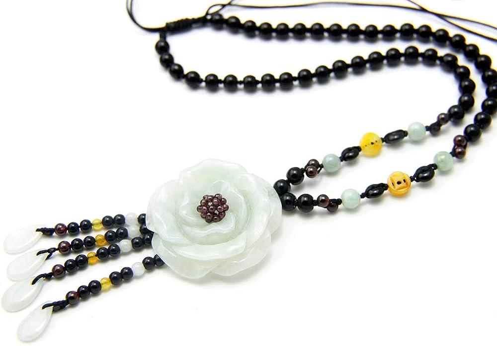 Agathe JCA0132014-Creation-Collar con colgante, diseño de flor, color verde, tipo de piedra natural (A)-para felicidad, hecho A mano