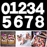 10 Inch 0-9 Numeral Cake Molds Cake Stencils Arabic Number Cake Maker Baking Tools Fillings Layered Cake for DIY Wedding Birthday Anniversary, White